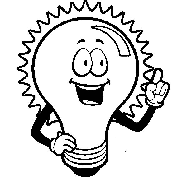 light bulb shining for an idea coloring pages
