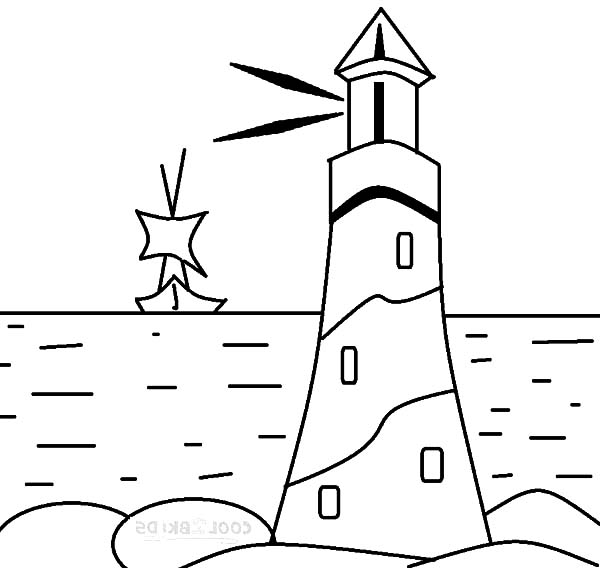 lighthouse giving sign to a boat coloring pages