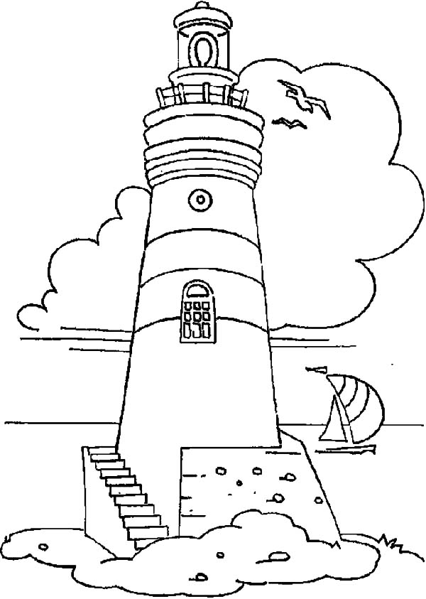 Lighthouse and Sailing Boat Coloring Pages