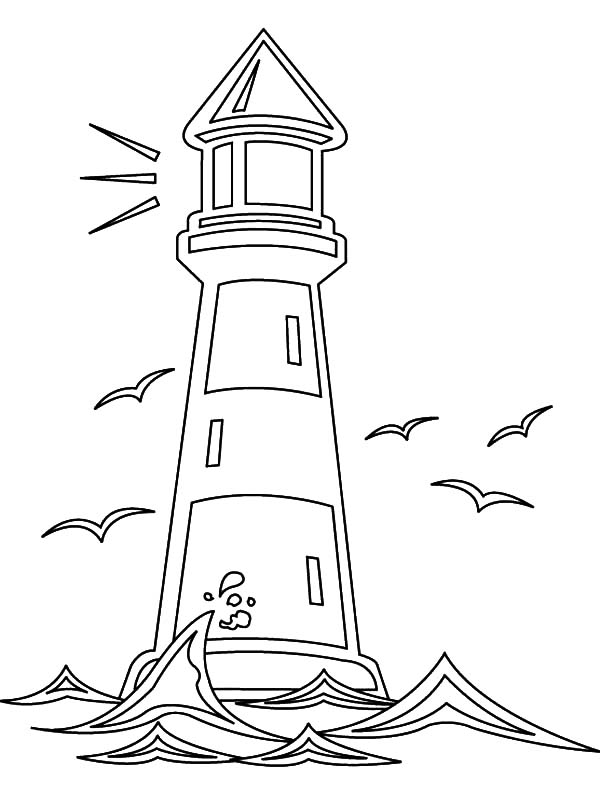 lighthouse and seagulls coloring pages