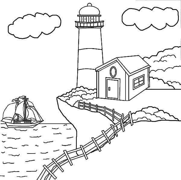 lighthouse at the edge of the cliff coloring pages