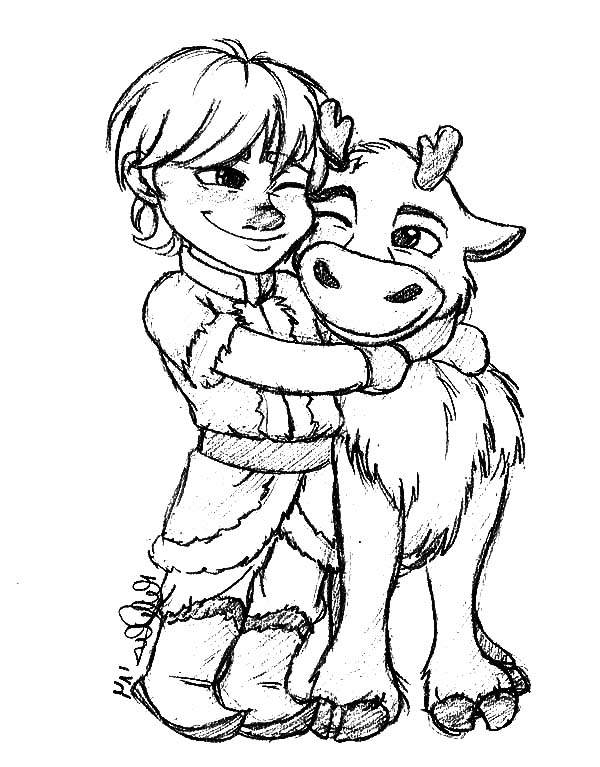 frozen coloring pages sven kristoff - photo#22