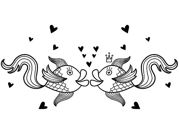 fishes kissing coloring pages - photo#15