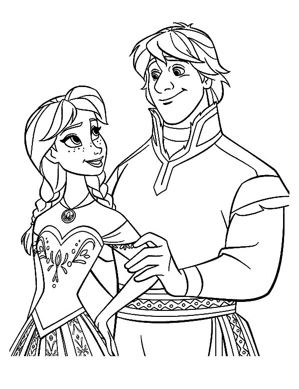 Lovely couple princess anna and kristoff coloring pages