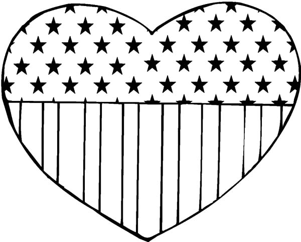 loving heart flag day coloring pages