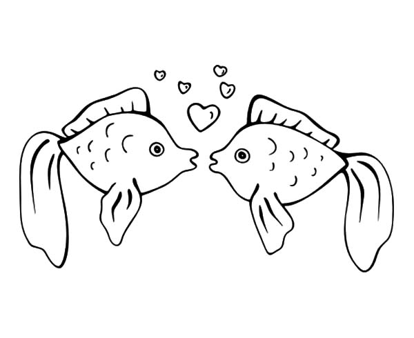 fishes kissing coloring pages - photo#3