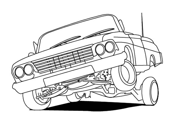 Hydraulic Car Coloring Pages : Lowrider cars hydraulics coloring pages download print