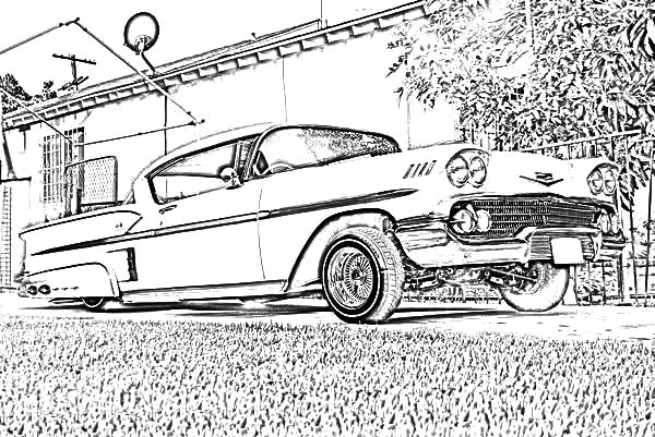 Lowrider Cars On The Road Coloring Pages