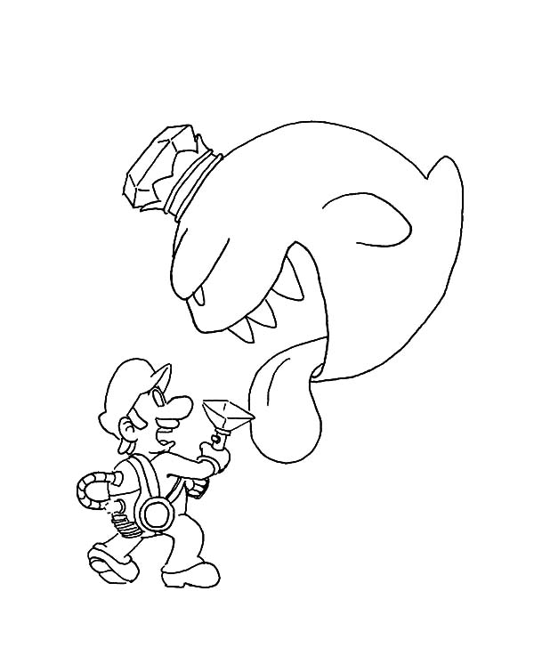 Luigi Fighting Monster with Vacuum Cleaner Coloring Pages