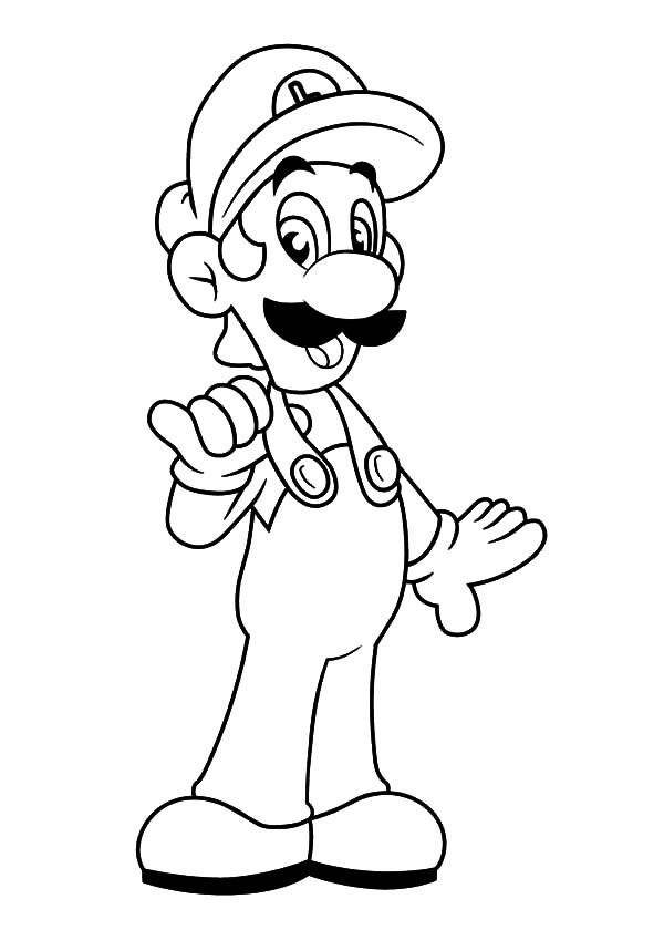 Luigi Wearing Workshop Clothes Coloring Pages Download Print