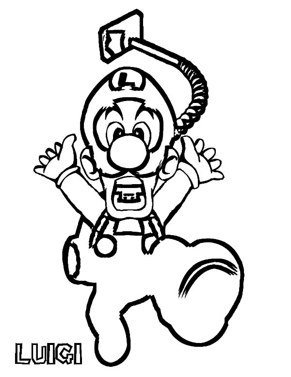 Luigi is Panic Coloring Pages Download Print Online Coloring
