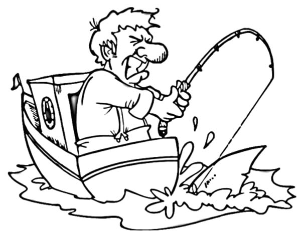 Man on Boat Strike with Fishing Pole Coloring Pages Man on Boat