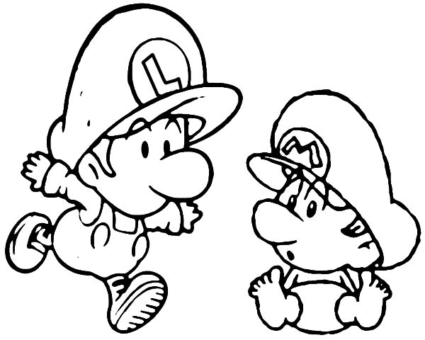 Mario And Luigi When We Were Baby Coloring Pages