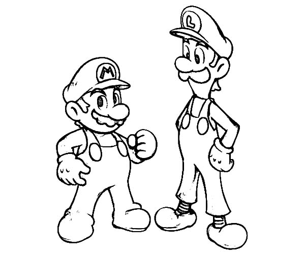 Mario and Luigi is Teammate Coloring Pages