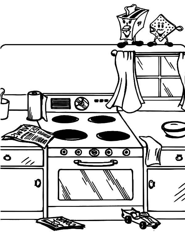Mother and Daughter Baking Cookie in the Kitchen Coloring Pages