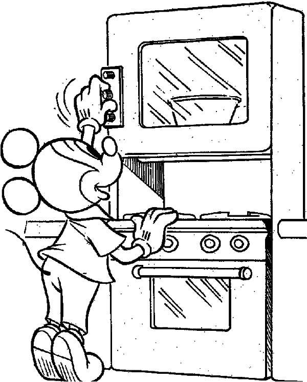 Mickey Mouse in the Kitchen Coloring Pages