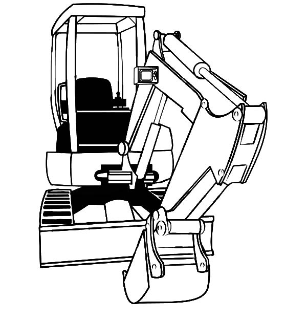 Mini excavator coloring pages sketch coloring page for Coloring pages excavator