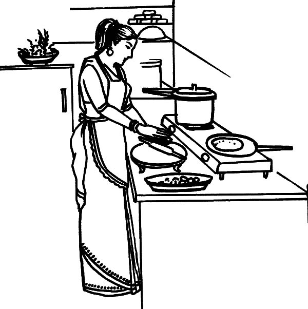 Mother Cooking Dinner in the Kitchen Coloring Pages Download