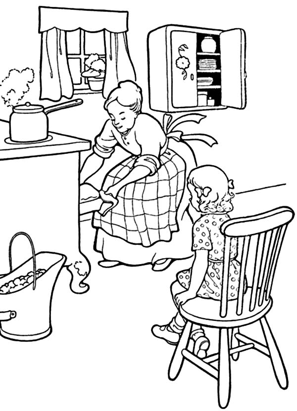 Kitchen Mother And Daughter Baking Cookie In The Coloring Pages