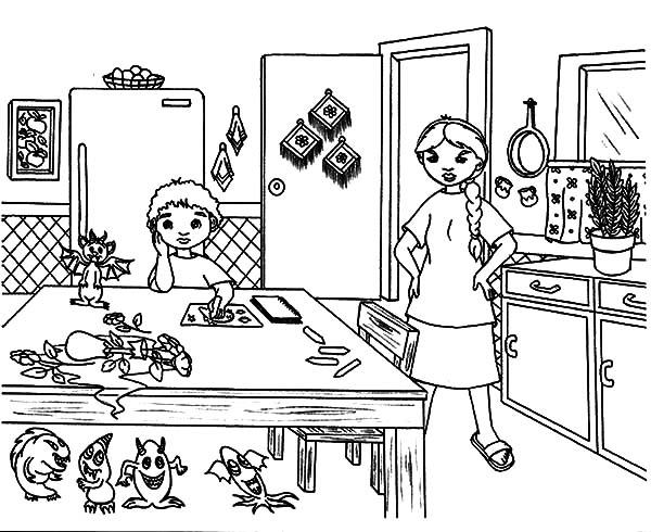Wilma Cooking in the Kitchen Coloring Pages Wilma Cooking in the
