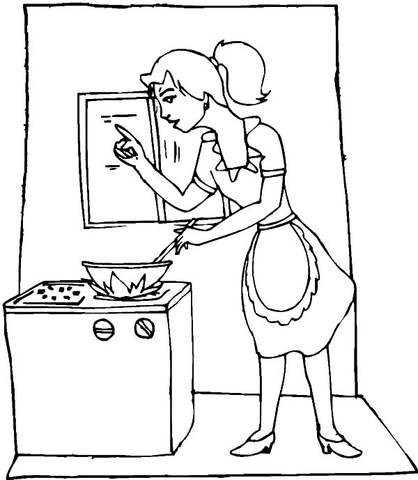 My Mom is Cooking in the Kitchen Coloring Pages Download Print