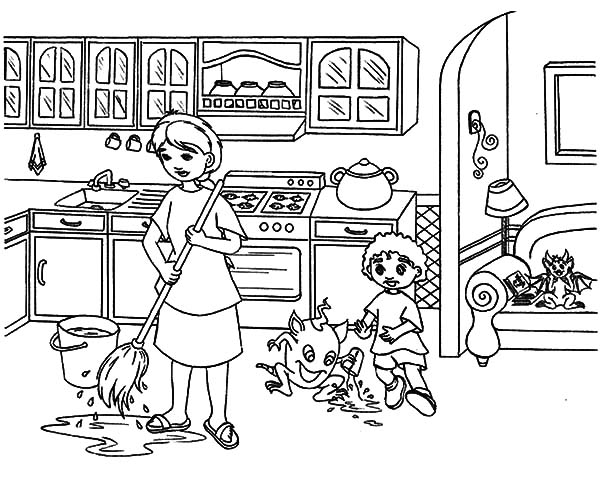 My Mother Moping Kitchen Floor Coloring Pages