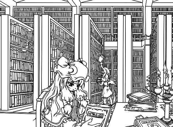 Patchoulis Library Coloring Pages