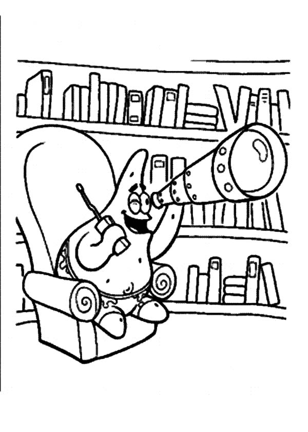 Patrick Spotted in Library Playing with Telescope Coloring Pages