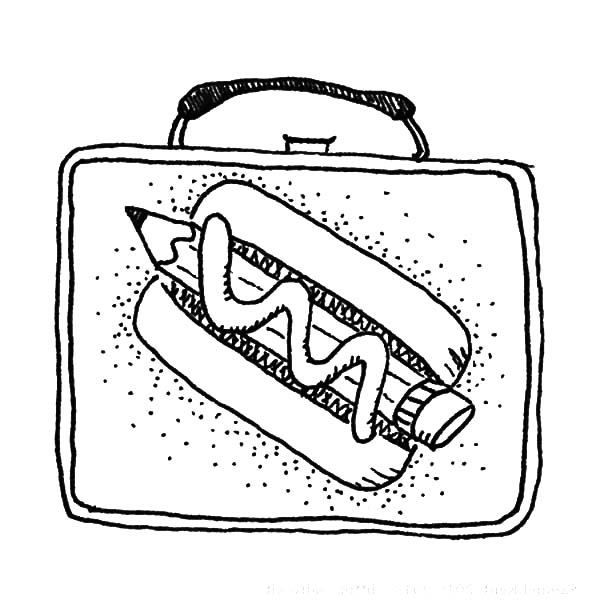Pencil Hotdog Lunchbox Coloring Pages
