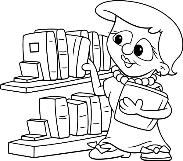 library picking book in the library coloring pages picking book in the library coloring