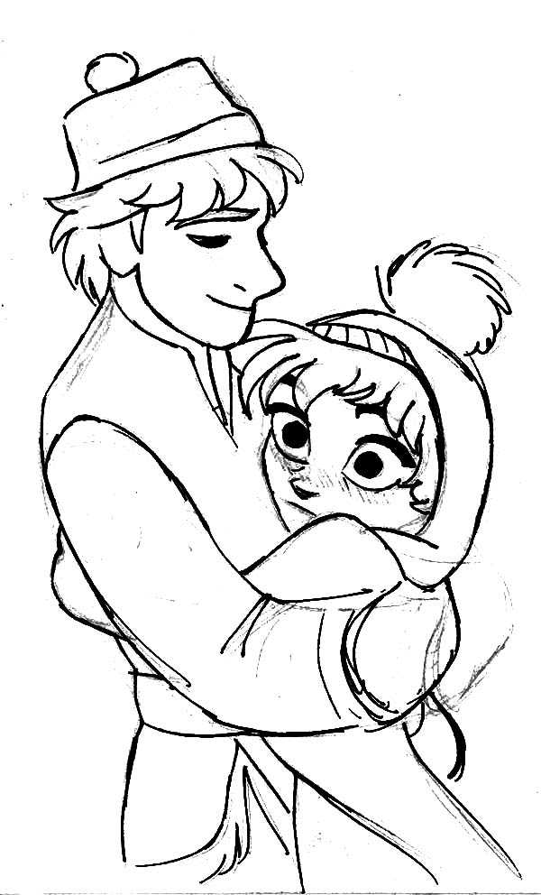 Princess Anna Blushing Hug by Kristoff Coloring Pages