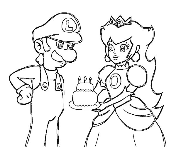 Luigi Princess Peach Give Birthday Cake Coloring Pages
