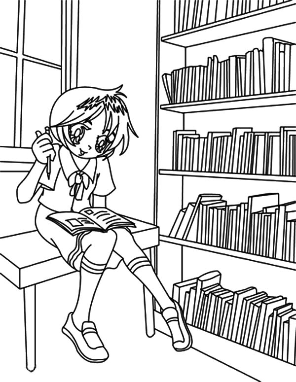 librarian coloring pages | Pupil Sitting on Library Table Coloring Pages - Download ...