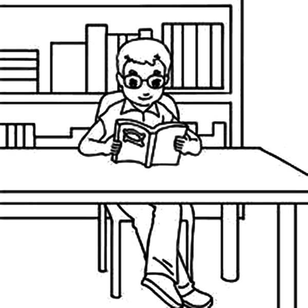 Boy Reading Books In Library Coloring Pages Boy Reading