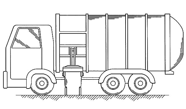 Garbage Truck, : Put All Garbage Inside Truck Coloring Pages