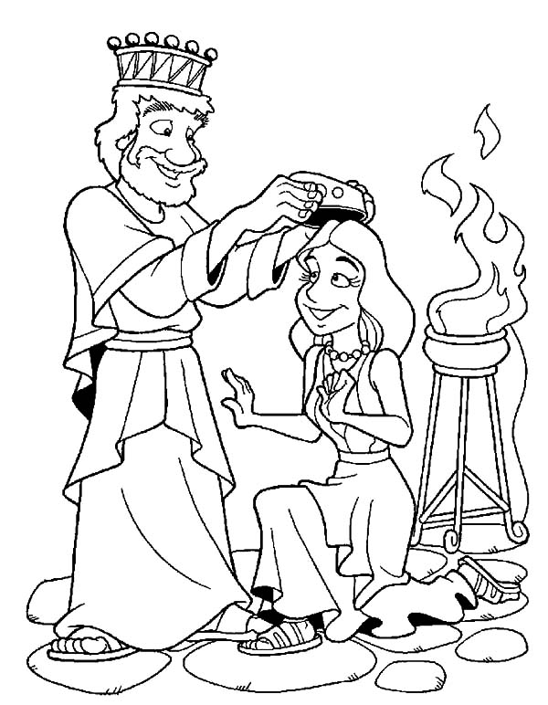 Esther Queen Crowned By King Ahasuerus Coloring Pages