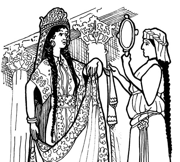 queen esther look into mirror coloring pages - Esther Bible Story Coloring Pages