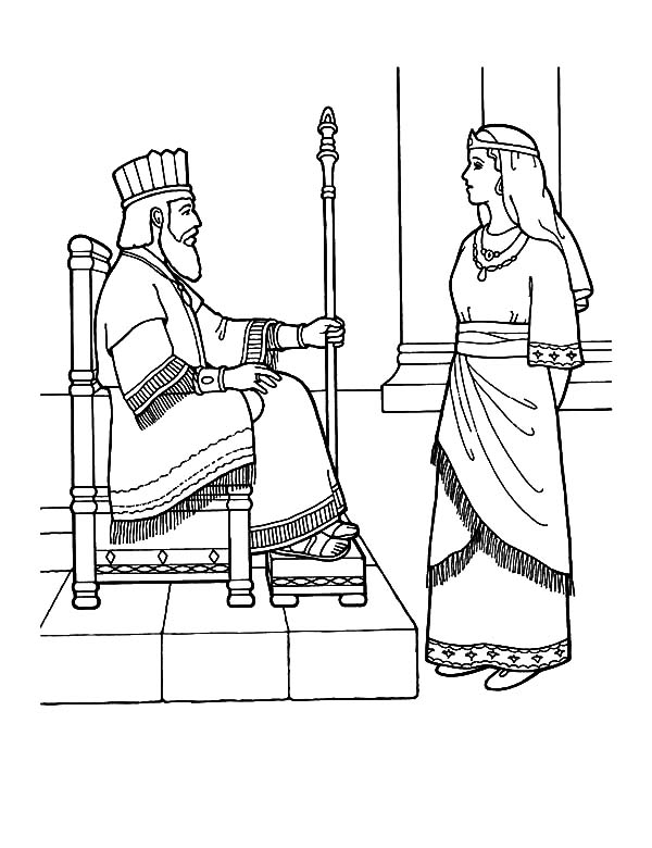 Queen Esther Talking to King Coloring Pages - Download & Print ...