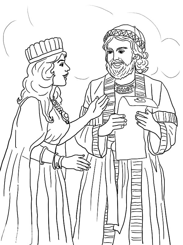 Esther Queen And Mordecai With Kings Edict Coloring Pages