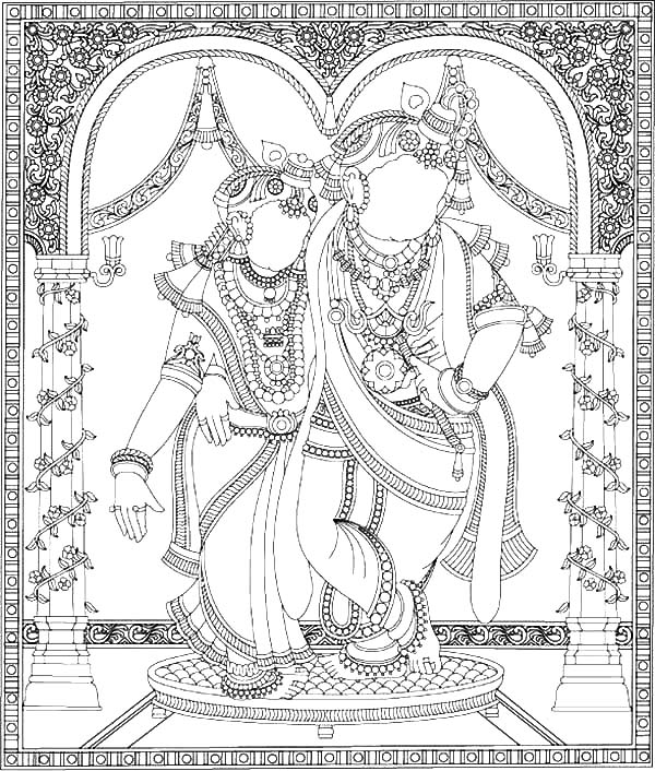krishna radha and krishna mosaic coloring pages