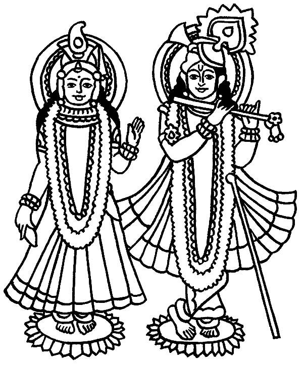Radha Krishna Free Coloring Pages