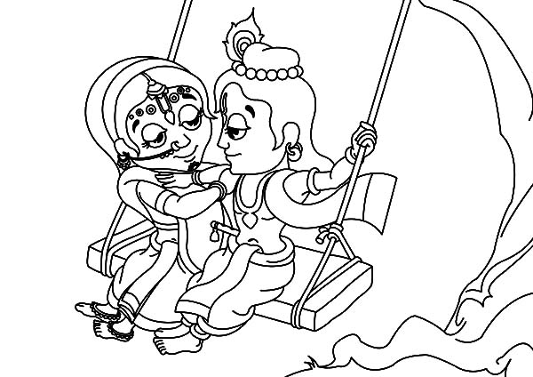 Radha and Krishna Watching Each Other on the Swing Coloring Pages