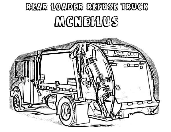 Garbage Truck, : Rear Loader Garbage Truck Coloring Pages
