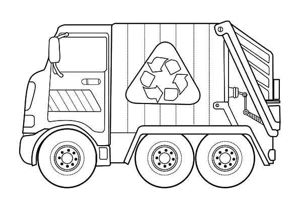 Garbage Truck, : Recycling Garbage Truck Coloring Pages