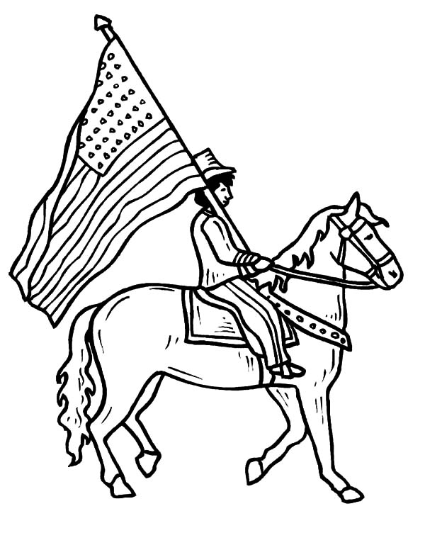 Riding Horse with American Flag on Flag Day Coloring Pages