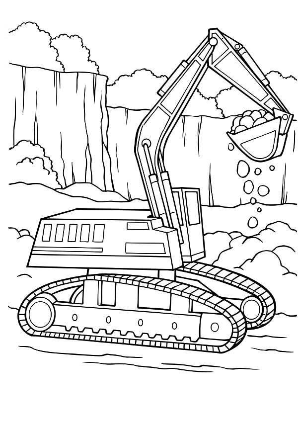 rock loader excavator coloring pages
