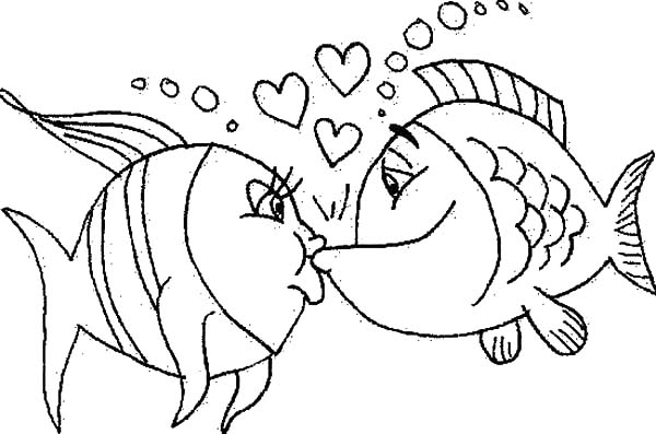 fishes kissing coloring pages - photo#4