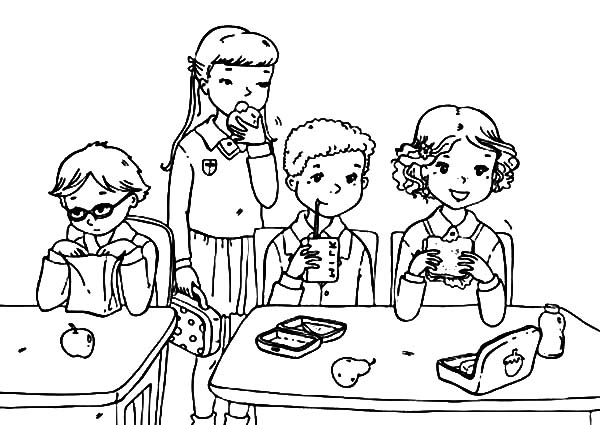 eating coloring pages - eating lunch coloring sheet coloring pages