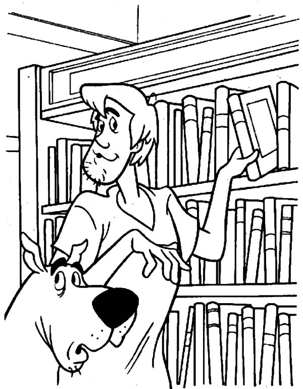 Scooby Doo And Shaffy Picking Book In Library Coloring Pages