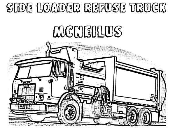 Side Loader Garbage Truck Coloring Pages